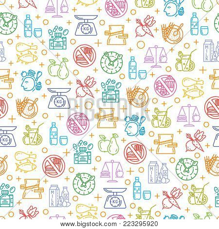 Healthy diet icons seamless pattern, healthy dieting, rational nutrition icons, slimming loss weight, healthy lifestyle, balanced diet eating, organic food, vegetarian food, protein diet, healthy diet concept