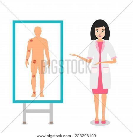 Nurse or doctor in uniform on the poster shows the major joints on the human body. Disease of the joints. Vector illustration.