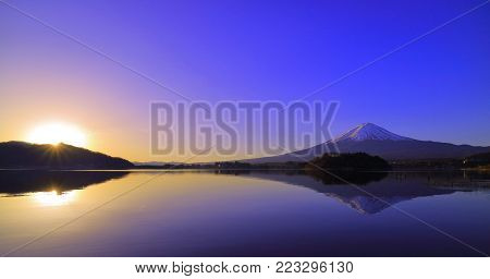 Sunrise and Mt. Fuji from Lake kawaguchi Japan 01/16/2018