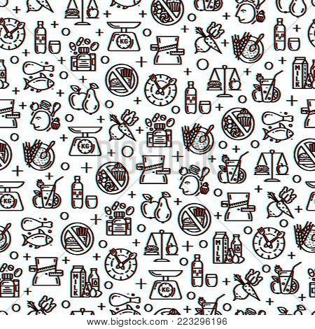 Healthy diet icons seamless pattern with glitch effect, healthy dieting, rational nutrition icons, slimming loss weight, healthy lifestyle, balanced diet eating, organic food, vegetarian food, protein diet, healthy diet concept