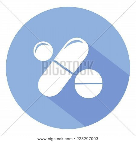 Drugs and Pills on blue background, Medical pill, Tablet symbol. Vector Illustration.