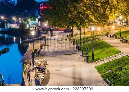 LONDON, UNITED KINGDOM - OCTOBER 16: This is a night view of the Thames riverfront area in Richmond which is a famous landmark on October 16, 2017 in London