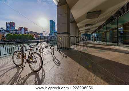 LONDON, UNITED KINGDOM - OCTOBER 07: Riverside modern architecture in the Canary Wharf financial district on October 07, 2017 in London