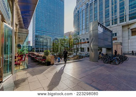 LONDON, UNITED KINGDOM - OCTOBER 07: Modern architecture in the Canary Wharf financial district on October 07, 2017 in London
