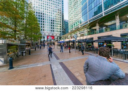 LONDON, UNITED KINGDOM - OCTOBER 07: This is Reuters Plaza, a busy cafe and restaurant area in the Canary Wharf financial district on October 07, 2017 in London