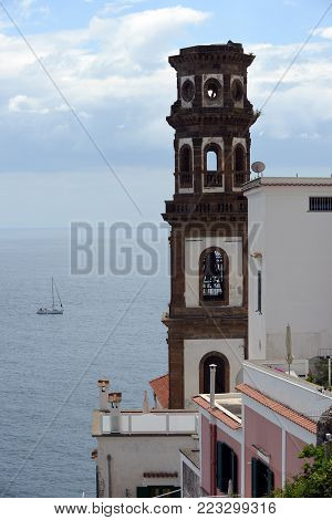 Atrani city view to sea with Santa Maria Maddalena Church bell tower.