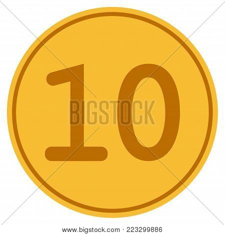 Ten gold coin icon. Vector style is a golden yellow flat coin symbol.