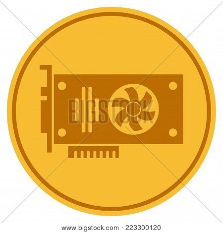 Videocard gold coin icon. Vector style is a golden yellow flat coin symbol.
