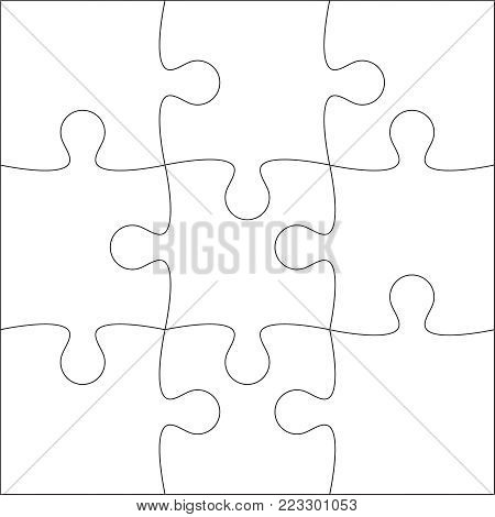 Jigsaw puzzle blank template or cutting guidelines of 9 pieces. Plain white jigsaw puzzle, on white background. Vector  illustration.