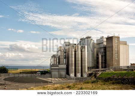 Kirkcaldy, Scotland, UK - August 27, 2016: Exterior of Carr's HUTCHISONS flour mill in the town of Kirkcaldy in Scotland, and adjoining territory. Editorial use only