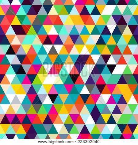 Abstract seamless pattern of triangles. Mosaic of geometric forms. An optical illusion of movement.