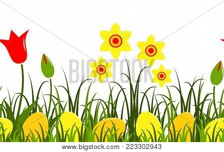 seamless vector border with daffodils, tulips and easter eggs in grass isolated on white background