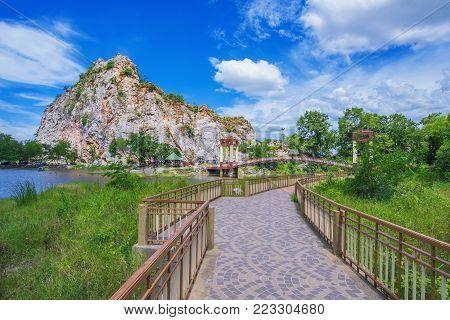 Footbridge in Khao Ngu Stone Park in Ratchaburi