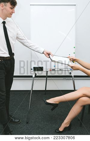 man provides office report for boss. daily routine of business men. professional communication.