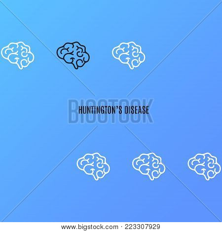Huntington's disease poster on blue background. Row of healthy brains with one organ affected by the illness. Side view body sign. Chronic neurodegenerative disorder symbol. Vector illustration.