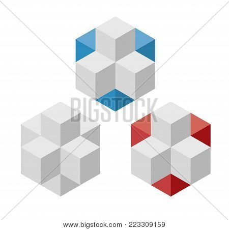Abstract cube vector shape reminiscent of technological development, nanotechnology component. Isometric brand of scientific institution, research center, laboratories, spatial paradox.