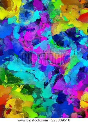 Colorful Abstract Brush Strokes. Oil Painting. 3D rendering
