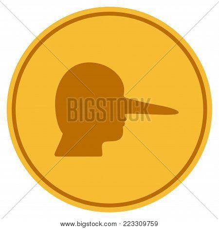 Lier gold coin icon. Vector style is a golden yellow flat coin symbol.