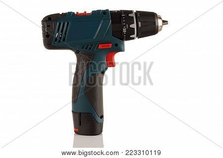 modern compact cordless drill, screwdriver on a white background