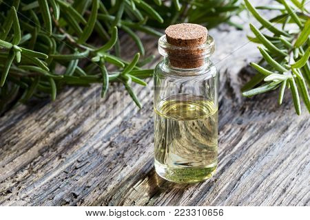 A bottle of rosemary essential oil on old wood, with fresh rosemary twigs in the background