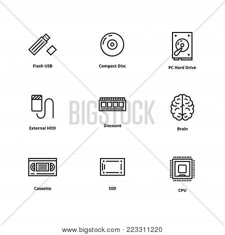 Memory line icons for memory devices. Icons for user interface and web