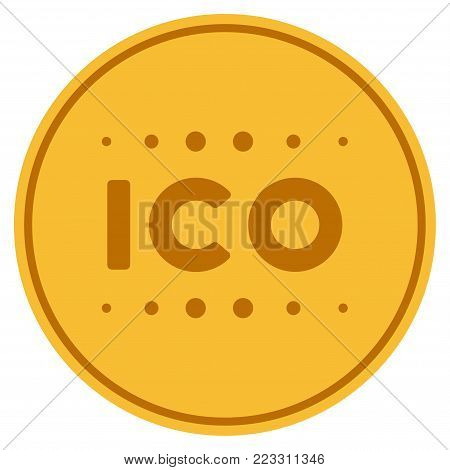Ico Caption gold coin icon. Vector style is a golden yellow flat coin symbol.