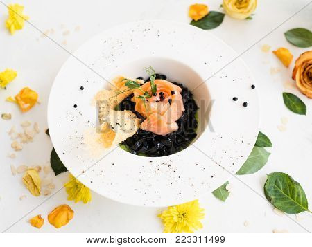 italian food black pasta recipe nero concept. traditional kitchen. national cuisine. delicious delicacy.