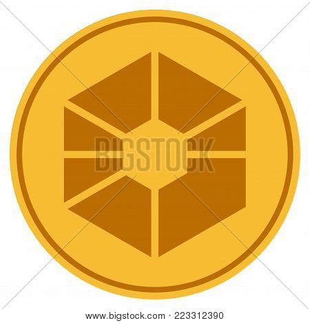 Raiblocks gold coin icon. Vector style is a golden yellow flat coin symbol.