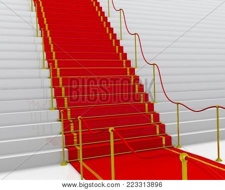 The red carpet for ceremony. Stairs with a red carpet and fencing posts. 3D Illustration