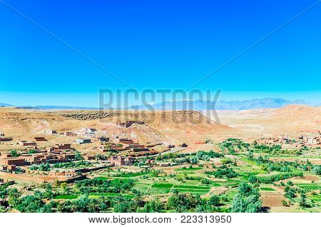 View from Oasis Ait Ben Haddou in Morocco