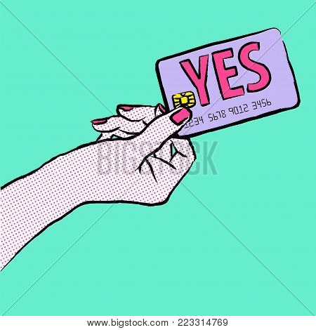 Marketing illustration. Customer say yes. Illustration of a shopper, paying with the card. Sale and buy with a card. Image of a hand purchasing with credit card fom the left side of the picture.Want to buy.