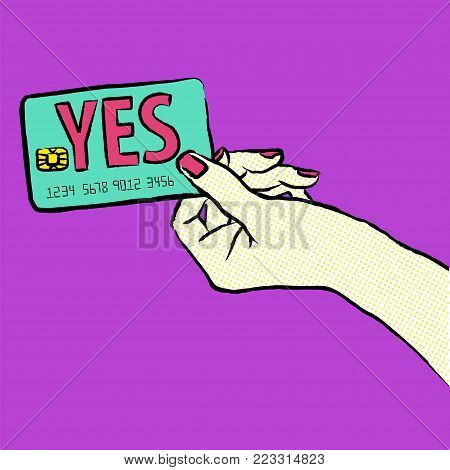 Marketing illustration. Customer say yes. Illustration of a shopper, paying with the card. Sale and buy with a card. Image of a hand purchasing with credit card fom the right side of the picture.Want to buy.