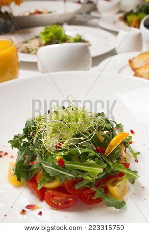 Healthy balanced eating. Vegetable salad. Vegetarian food background. Haute cuisine concept