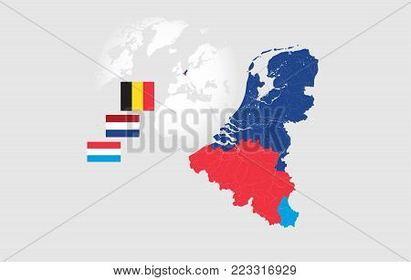 Map of BeNeLux countries with rivers and lakes and national flags. Map consists of separate maps of Belgium, Netherlands and Luxembourg that can be used separately. Please look at my other images of cartographic series - they are all very detailed and car