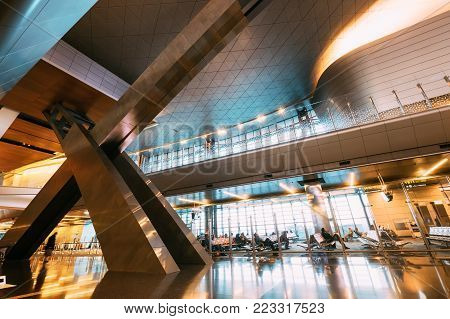 Doha city, Qatar - December 18, 2017: Interior of the New opened five stars Hamad International Airport  in Doha, Qatar
