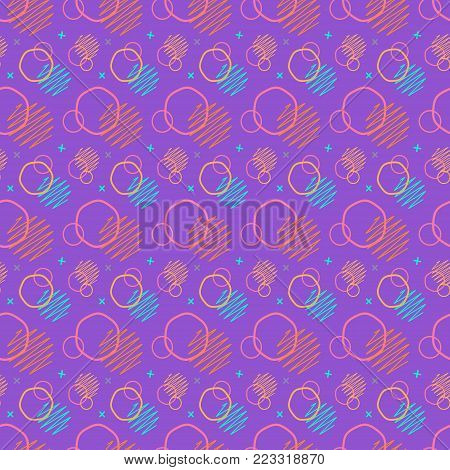 Pattern seamless memphis retro style. Abstract vector seamless background. Memphis geometric pattern vintage pop art shapes. Modern minimal colorful trendy graphic good for fabric or cover print art
