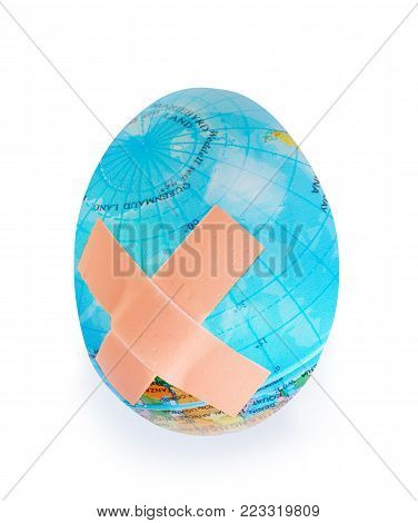 Egg earth globe, concept of global problems with ecosystem of earth, world safe concept