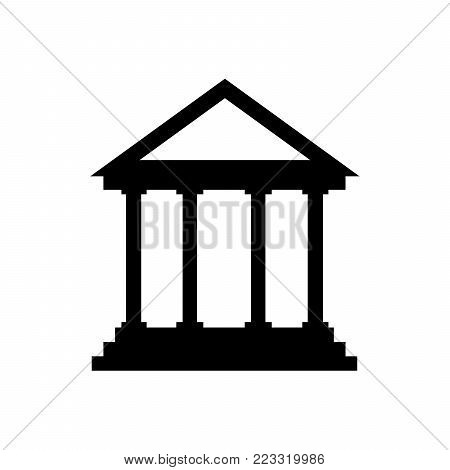 Court house icon vector, filled flat sign, bank solid pictogram isolated on white. Historical building symbol, logo illustration EPS