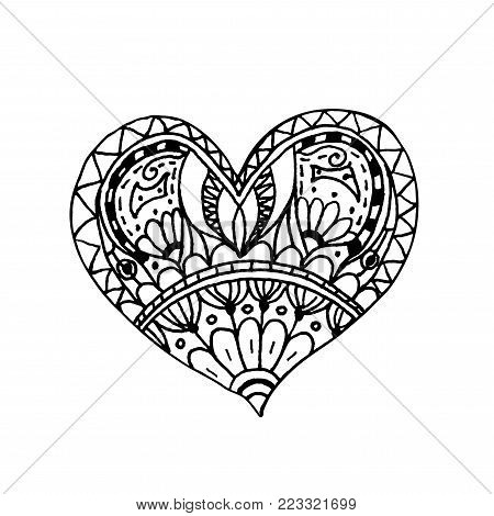 Vector illustration of doodle hand drawn heart. Coloring page book for Valentine day. Black and white card for Saint Valentines Day. Symbol of love