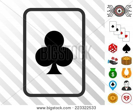 Clubs Gambling Card icon with bonus gamble pictures. Vector illustration style is flat iconic symbols. Designed for gambling websites.