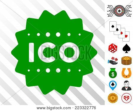 Ico Token pictograph with bonus casino graphic icons. Vector illustration style is flat iconic symbols. Designed for casino ui.