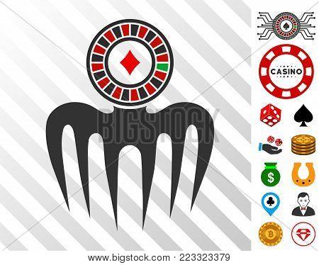 Roulette Spectre Monster icon with bonus casino symbols. Vector illustration style is flat iconic symbols. Designed for gambling websites.