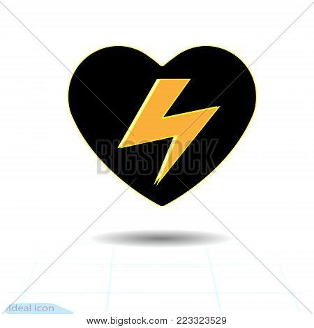 The heart icon. A symbol of The high voltage from love. Valentine Day and Warning pictogram. Have a happy day. Vector Warning voltage