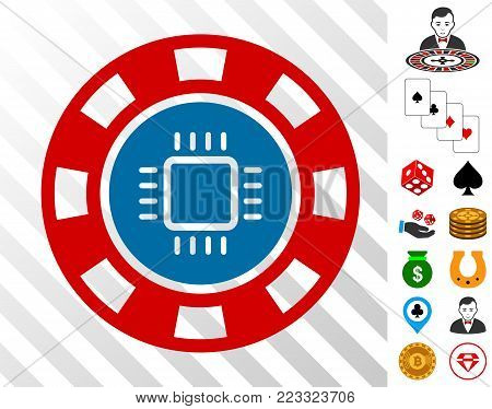Cpu Casino Chip pictograph with bonus gambling design elements. Vector illustration style is flat iconic symbols. Designed for casino apps.