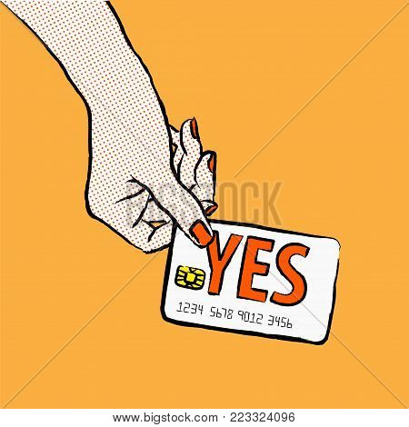 Marketing illustration. Customer want to buy and say yes. Illustration of a shopper, paying with the card. Buy with a card. Image of a hand purchasing with credit card fom the  upper left corner.