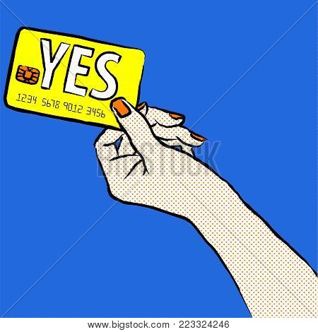 Marketing illustration. Customer say yes. Illustration of a shopper, paying with the card. Sale and buy with a card. Image of a hand purchasing with credit card fom the right corner of the picture.Want to buy.