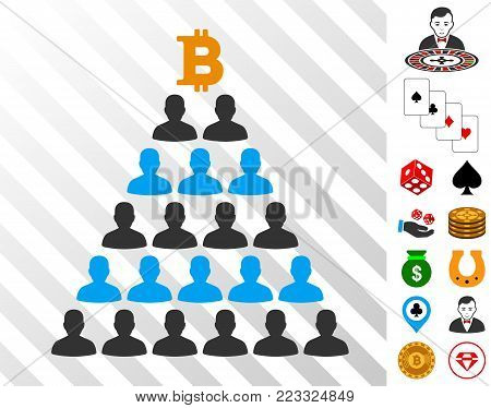 Bitcoin Ponzi Pyramid icon with bonus gambling symbols. Vector illustration style is flat iconic symbols. Designed for casino ui.