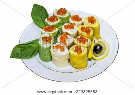Pancake rolls (blin-roll) with red caviar isolated over white