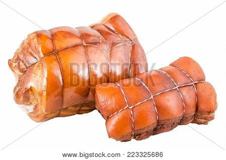 two juicy fresh bacon, seasoned, with a cut, meat, a pig, bacon, a boar, in a plastic packaging, in a white or red thread, shish kebab, smoked meat, shine, lard, layers isolated on white background