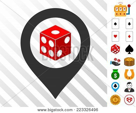 Dice Map Pointer icon with bonus gamble icons. Vector illustration style is flat iconic symbols. Designed for gamble software.